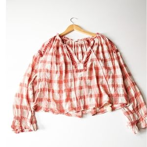 Free People Honey Grove Plaid Peasant Top Medium